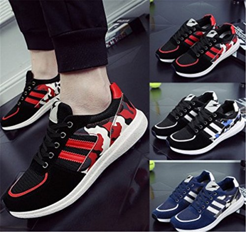 Bininbox Mens Casual Sneakers Respirant Athlétique Sport Board Chaussures Confortable Courir Swede Cuir Rouge