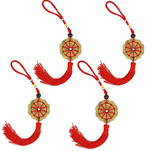 Charm Ancient I Ching Coins Chinese Feng Shui Prosperity Protection Lucky Charm Coins with Red Knot ()