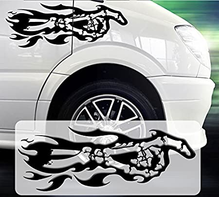 PEGATINA para coche con diseño de tatuaje de esqueleto de mano con ...