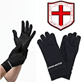 Arthritis Gloves Women- Copper Gloves For Men- Compression Gloves Recovery & Relieve For Arthritis, RSI, Carpal Tunnel, Swollen Hands, Tendonitis, Everyday Support & More- Full Finger Glovs/ Black/ M