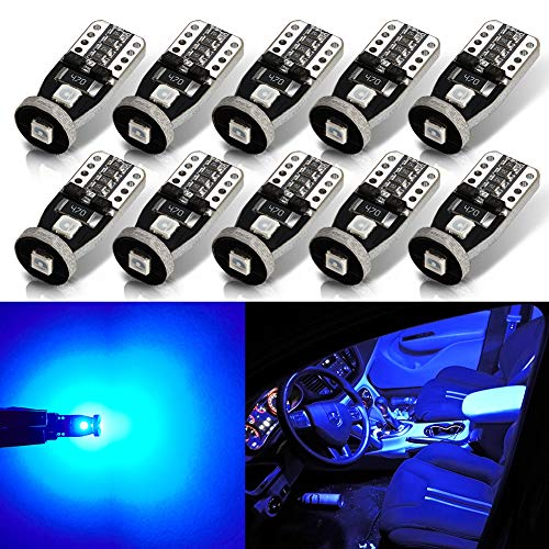 AUTOGINE 10pcs Error Free 194 168 175 2825 W5W T10 LED Bulbs Ultra Blue Super Bright 3030 Chipset for Interior Dome Map Door Courtesy Trunk License Plate Lights