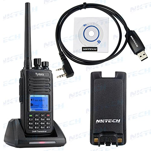 NKTECH USB Programming Cable + 2800mAh Battery & TYT MD-390 IP67 Waterproof Transceiver Digital Mobile Radio UHF 400-480MHz Repeater Slot Two Way Radio by NKTECH