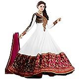 Shree Krishna Sales Corporation Women's Georgette Salwar Suit (Sinex White_White_Free Size)