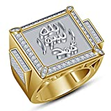 TVS-JEWELS Islamic Muslim Allah 14k Gold Plated 925 Sterling Silver Round Cut White CZ Allah Ring (12.25)
