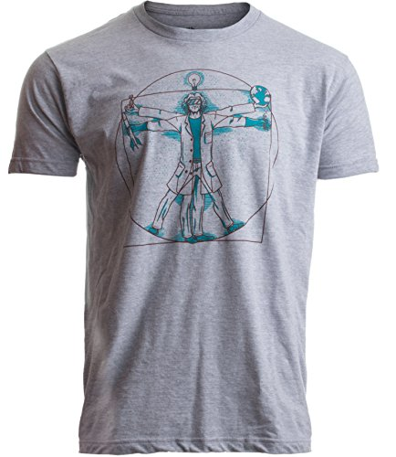 Vitruvian Scientist | Funny Cool Science Nerd Nerdy Geek Geeky Men Women T-Shirt-(Adult,S) Heather Grey ()