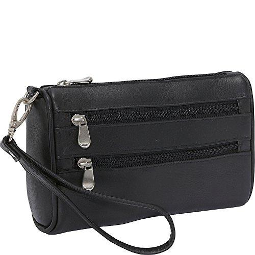 le-donne-leather-two-zip-wristlet-clutch-black