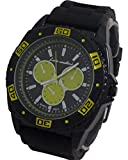 Luis Cardini Men Watch Black Dial with Alloy Metal Case with Silicon Band