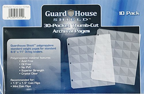 30 Pocket ''Thumb-Cut'' Coin Storage Pages for 1.5'' x 1.5'' Flips & Mini Coin Flips; Archival Polypropylene Pages by Guardhouse Shield - Pack of 10 by GuardHouse Shield