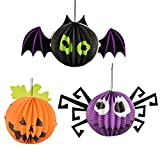 Oxfox Halloween Paper Lantern Pumpkin Bat Spider Decoration Christmas Party Room Gardan Small