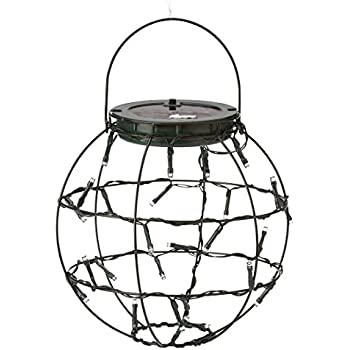 Plow & Hearth Set of 3 Decorative Mini Solar Hanging LED Lanterns Outdoor Yard Garden Lights for Pathway Stairs Tree Porch Versatile Holiday Decorations, Includes AA Rechargeable Battery 9 dia x 9.5 H