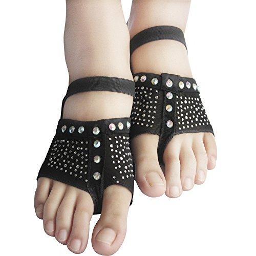 Yaling International Trading Limited ISYITLTY Frauen Ballett Bauchtanz lyrische halbe Sohle Pfoten Pad Fuß Thong Dance Paw Schuhe 8 Styles Fblack Strass