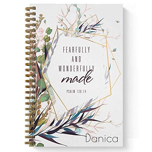 """Wonderfully Made Personalized Notebook/Journal, Laminated Soft Cover, 120 College Ruled or Checklist pages, lay flat wire-o spiral. Pick your size, 8.5"""" x 11"""", 5.5"""" x 8.5"""". Made in the USA"""