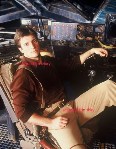 Nathan Fillion 8 inch x 10 inch photo Castle Firefly Serenity in capt tight pants outfit