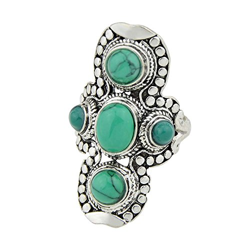 FEELONTOP Tibetan Retro Vintage Silver Tone Turquoise Stone Big Statement Finger Ring with Jewelry Pouch (green, 7)