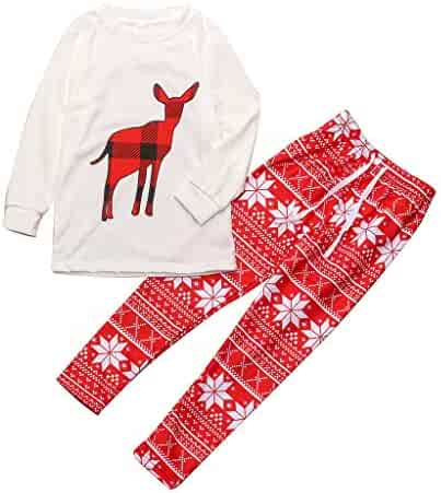 ba17af512 Usstore Christmas Family Pajamas 2PCS Outfits Winter Father Mother Kids Elk Print  Tops Snowflake Pants Home