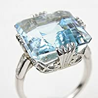 Women Jewelry 925 Silver Aquamarine Gemstone Wedding Bridal Ring Size 6-10 (10)