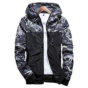 XARAZA Men's Long Sleeve Camo Hoodie Jacket Outwear Hooded Windbreaker