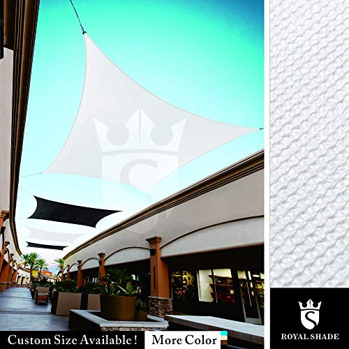 Royal Shade Custom Size Order to Make Sun Shade Sail Canopy Mesh Fabric UV Block Rectangle – Commercial Standard Heavy Duty – 200 GSM – 5 Years Warranty 8 x 8 , White