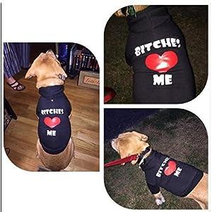 "EXPAWLORER ""BITCHES LOVE ME"" Dog Hoodies Fleece Sweater Shirt Black XS"
