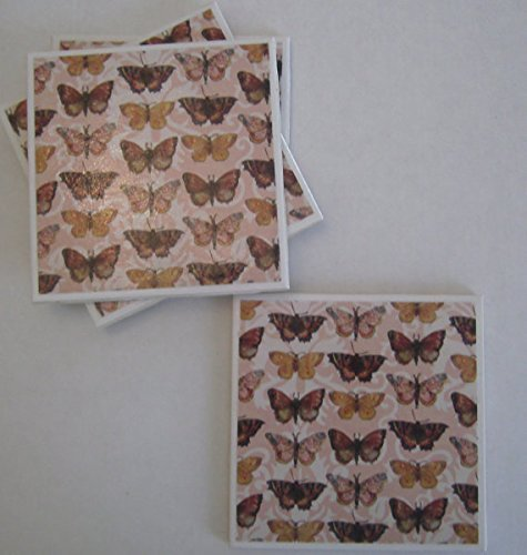 Butterfly pattern Ceramic Tile Coasters - Butterfly Brigade - Set of 4 Drink Coasters