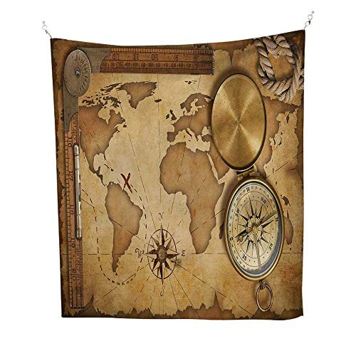 (Mapbeach Tapestry Wall hangingAged Vintage Treasure Map Ruler Rope Old Compass Antique Adventure Discovery 70W x 93L inch Dorm Room tapestryBrown Light Brown)