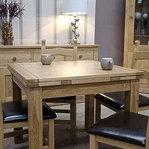 Oak - Mesa de Comedor Extensible (Madera de Roble, 90 x 90/120/150 ...