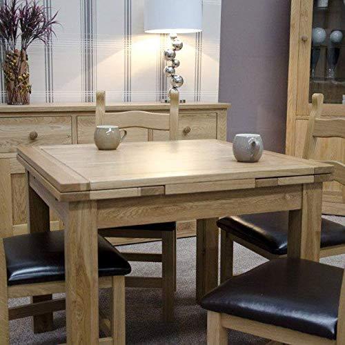 OAK Furniture Deep Astoria - Sillas de Comedor de Roble Encerado, Piel sintetica rustica, Color marron, Juego de 2