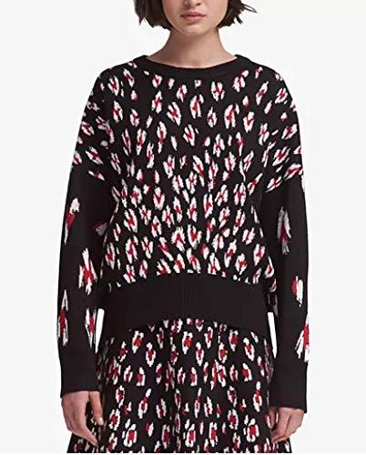 DKNY Womens Leopard-Print Sweater Black XL ()