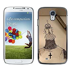 Shell-Star Arte & diseño plástico duro Fundas Cover Cubre Hard Case Cover para SAMSUNG Galaxy S4 IV / i9500 / i9515 / i9505G / SGH-i337 ( Knight Cross Christianity Crusade Art Drawing Pencil )