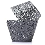Saitec ® Pack of 60 Filigree Little Vine Lace Laser Cut Cupcake Wrapper Liner Baking Cup Muffin Case Trays Wedding Birthday Party Decoration (Black)