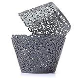 HG-X 50 PCS Flower Vine Filigree Cutout Lace Cupcake Wrapper Wraps Liner Wedding Party Cake Decoration (Glitter Black)