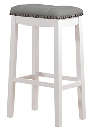 Angel Line 42918-21 Cambridge Padded Saddle Stool with Cushion 29 Set of 1 White with Gray