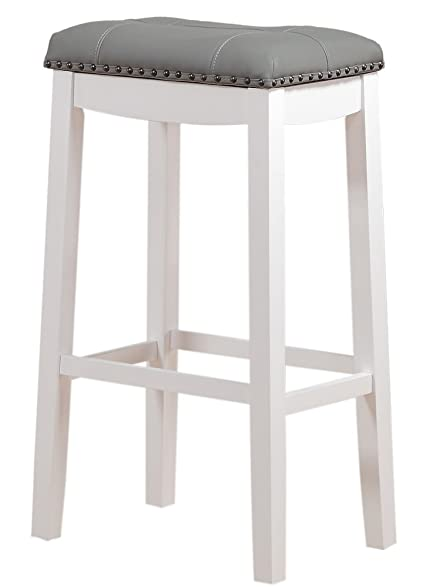 Angel Line Cambridge Padded Saddle Stool White with Gray Cushion 29u0026quot; ...  sc 1 st  Amazon.com : padded saddle bar stools - islam-shia.org