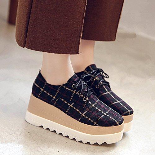 GAOLIM La Correa De Sujeción Gruesas Con Pendiente Bizcocho Con Zapatos De Mujer Zapatos Zapatos Primavera Solo Zapatos Zapatos Bajos Negro