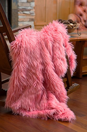 North End Décor Faux Fur Throw Blanket, Mongolian Long Hair Pink Pink Taffy (50