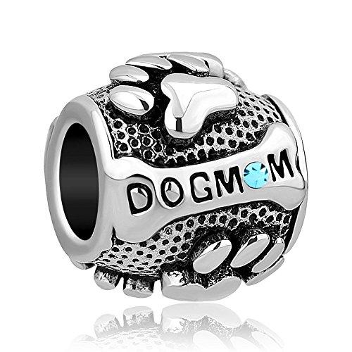 LilyJewelry Dog Mom Charm Paw Prints March Beads For Bracelet - Mom Flower Charm