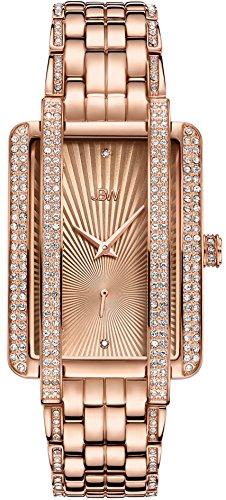 (JBW Luxury Women's Mink 0.12 Carat Diamond & Swarovski Crystal Wrist Watch with Stainless Steel Bracelet)