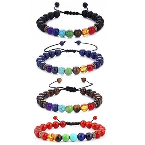Rope Stone (BESKIT Men Women 8mm Lava Rock 7 Chakras Beads Bracelet Braided Rope Natural Stone Yoga Bracelet Bangle (4 Pcs Bracelet Set))