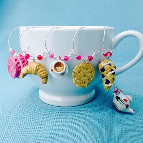 - Tulip Tea Cup Set Wine Glass Charms