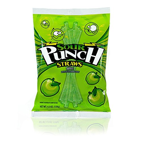 Sour Punch Apple Sour Straws 4.5 oz Bag (12 (Chew Straws)