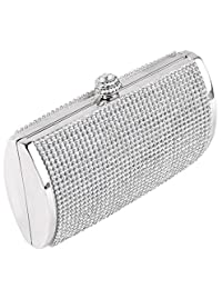 U-Story Luxury Diamante Crystal Evening Clutch Evening Wedding Purse Party Prom Bag Box (Silver)