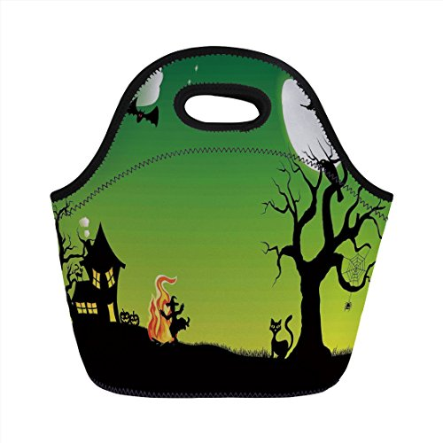 Neoprene Lunch Bag,Halloween Decorations,Witch Dancing with Fire at Halloween Ancient Western Horror Image,Green Black,for Kids Adult Thermal Insulated Tote Bags ()