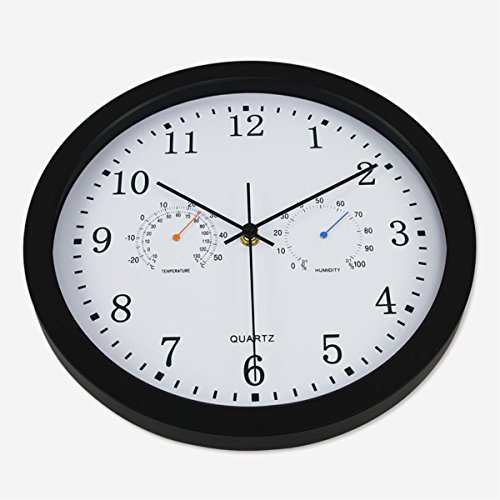 Vonzevo 12' Silent Non-ticking Lagre Decorative Indoor/Outdoor Wall Clock with Temperature & Humidity, Decor Clocks for Living Room & Kitchen & Office, Glass Cover (Black)