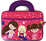Tablet Carrying Case for Kids will fit Nabi SE Elev-8 DreamTab HD8 Jr. Travel Neoprene Bag Tote Handle Boy Girl Cover Sleeve accessory pocket fits most 10 Inch devices (Super Hero Girls)