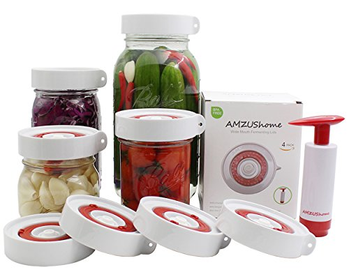 AMZUShome Fermenting Lids Kit Waterless Airlock For Wide Mouth Mason Jar Fermentation Not Crock Pots,Make Sauerkraut,Kimchi,Pickles Or Fermented Foods.4 Pack+1 Pump(White)