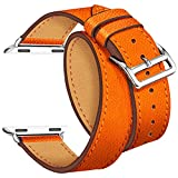 Maxjoy for Apple Watch Band, Genuine Leather Watchband 38mm for iWatch loop Strap with Metal Clasp Adapters Replacement Bracelet for Apple Watch Series 2, 1 Sport & Edition, Double Tour Cuff (Orange)