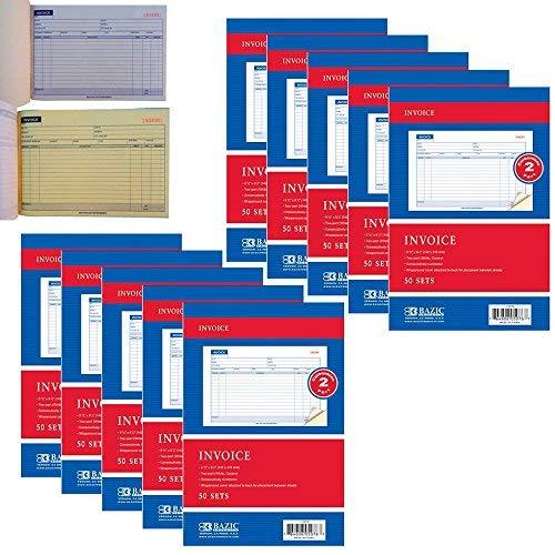(10 Carbonless Invoice Receipt Record Book 2 Part 50 Sets Duplicate Receipt)