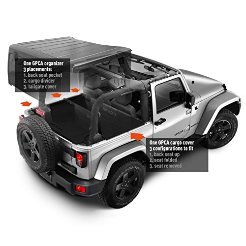 GPCA Jeep Wrangler JK 2DR Trunk Cargo Cover and Cargo Organizer, Freedom Pack, for Jeep Wrangler Sports/ Sahara/ Freedom/ Rubicon 2007- 2017 models