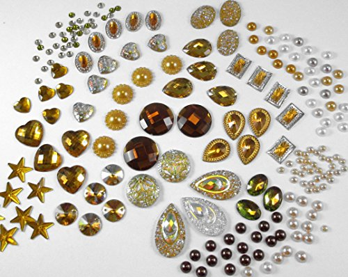 400 Pcs of Assorted Gold Brown Pearl Finish, Iridescent Flat Back Tear Drop Beads Cabochons Assorted Sizes 4mm-18mm