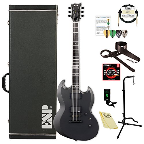 ESP EIIVIPERBCHMS E-II Viper Series VIPER BARITONE Electric Guitar, Charcoal Metallic Satin Esp Viper Baritone